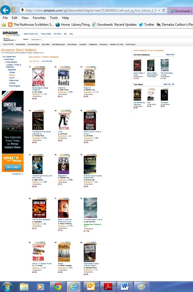 Amazon Top 100 Bestsellers with Nightmares