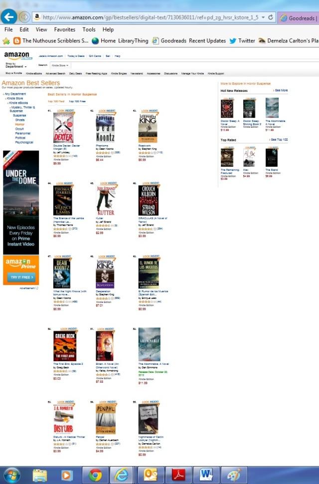 Amazon Top 100 Bestsellers with Nightmares