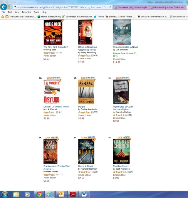 Nightmares at No 55 Top 100 Bestseller on Amazon