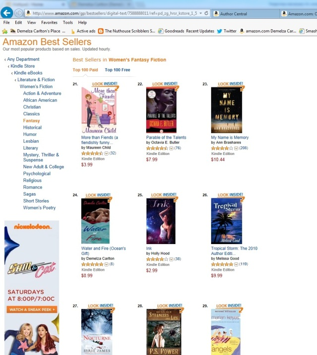 Water and Fire Top 100 Bestseller in Women's Fantasy Fiction No 23