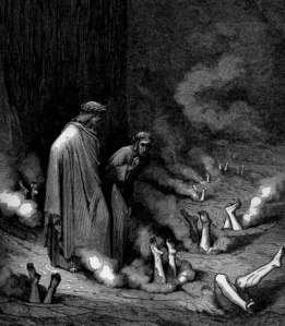 Buried head first in a hole by Dore