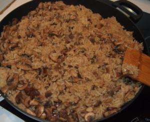 Cooked mushroom risotto