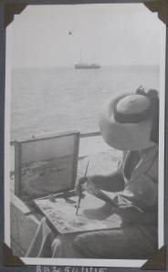 Painting with ship in background low res
