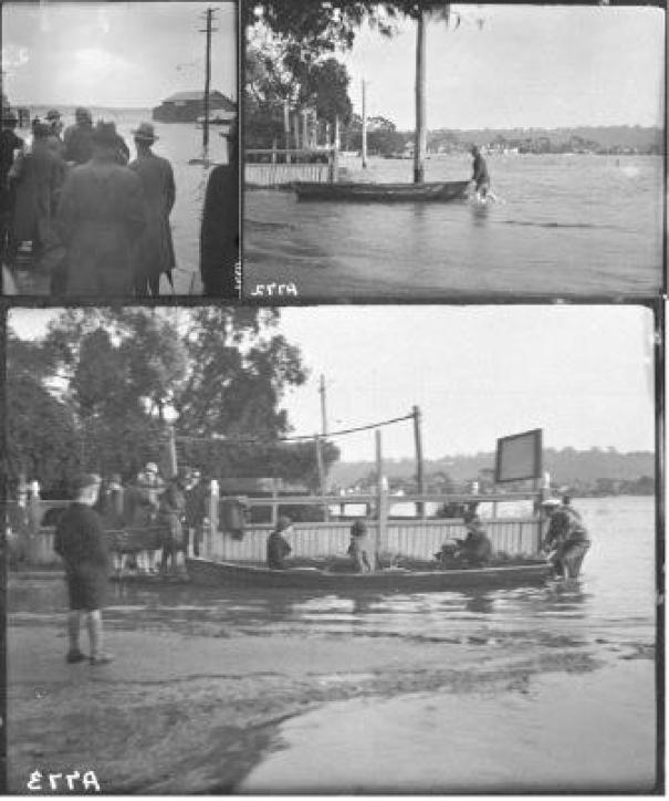 1926 Flood - Marooned people going by boat at Mends St South Perth low res