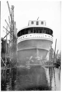 Launch of the TSS Islander, Grangemouth Dockyard, 1929