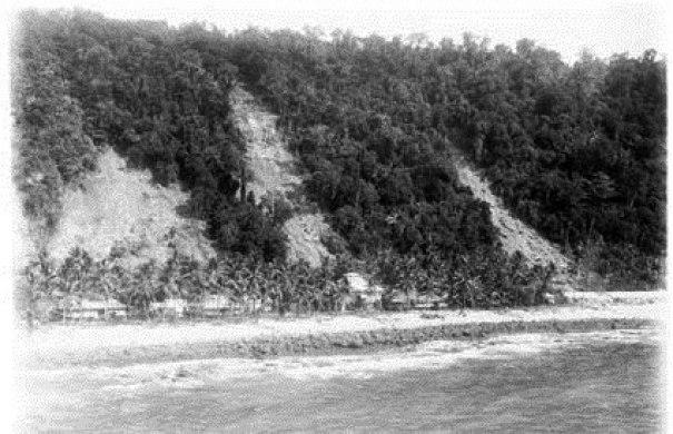 Landslides descending on the Kampong