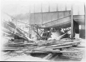 Wrecked sheds and conveyor at the end of No 1 Pier