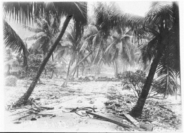 View taken in Settlement showing debris washed up after storm Jan 1932