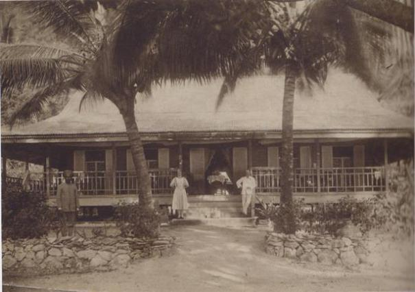 William and Anne Jackson and Sikh jaga outside the Jackson bungalow, Flying Fish Cove