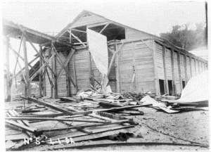 Gantry wreckage between Shed No 6 and Bin No 1