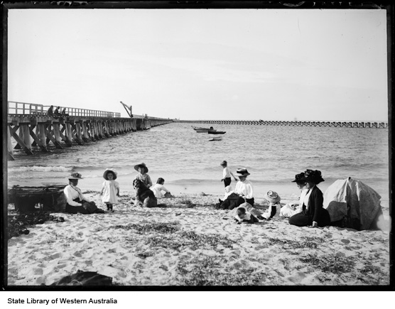 Busselton Jetty, 1912: Main Jetty on left and skeleton jetty on right in the background.